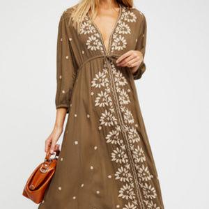 Free People Fable Maxi Dress NWT Brown Gypsie Boho